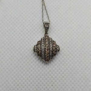 White & Champagne Diamond & Sterling Pendant